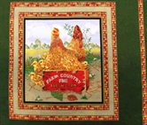Picture of Country Fresh Corn Hen and Chicks Cotton Fabric Pillow Panel