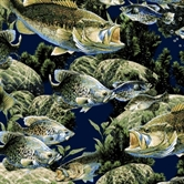 Picture of Bass Fish in the Water Cotton Fabric