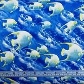 Picture of Sea World Schools of Tropical White Fish Cotton Fabric