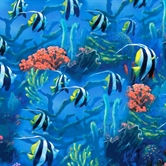 Picture of Sea World Tropical Striped Angel Fish Cotton Fabric