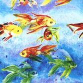 Picture of Rainbow Isle Fish on Mottled Blue Purple Cotton Fabric
