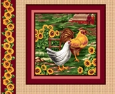 Picture of Rooster, Hen and Sunflowers Cotton Fabric Pillow Panel