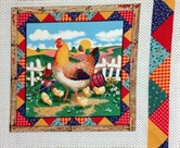 Picture of Green Acres Rooster with Chicks Cotton Fabric Pillow Panel