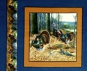 Picture of Wild Turkey 3 Turkeys in the Woods Blue Cotton Fabric Pillow Panel