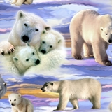 Picture of Flannel World's Wildlife Arctic Polar Bears Cotton Fabric