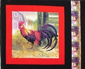 Picture of Red Rooster in the Barnyard Cotton Fabric Pillow Panel