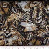 Picture of Wolves in the Wild Wolf Head Collage Cotton Fabric