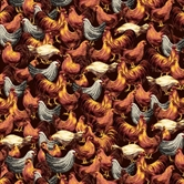 Picture of Roosters Hens and Chickens Packed on Brown Cotton Fabric