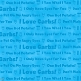 Picture of Hot Potatoes Potato Head Phrases on Blue Cotton Fabric