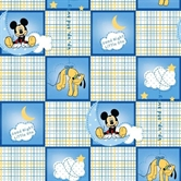 Picture of Disney Mickey Mouse Good Night Plaid Squares Cotton Fabric