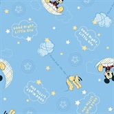 Picture of Disney Mickey Mouse Pluto Good Night Blue Cotton Fabric