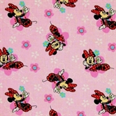 Picture of Disney Minnie Mouse and Flowers on Pink Cotton Fabric