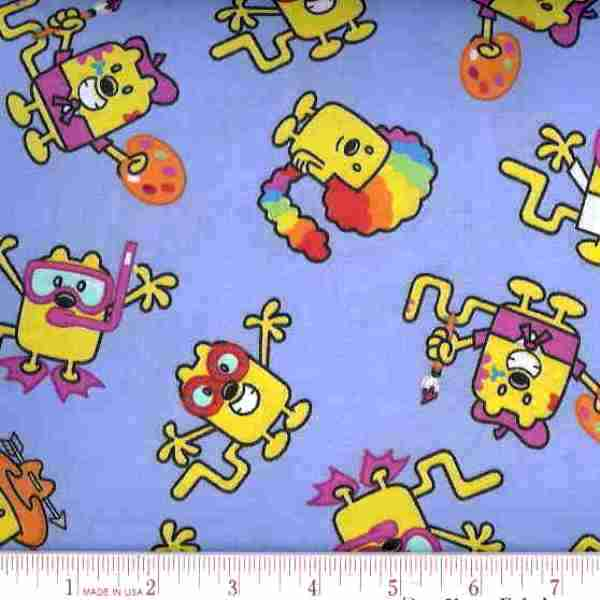 Picture Of Wow Wow Wubbzy Characters On Blue Cotton Fabric