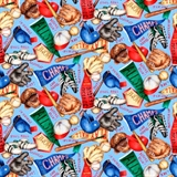 Picture of Baseball Collage All Stars Home Run Champs Blue Cotton Fabric
