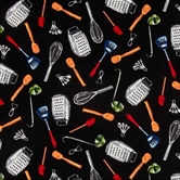 Picture of Chef's Blend Cooking Essentials on Black Cotton Fabric