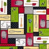Picture of Chef's Blend Cooking Essentials Patchwork Cotton Fabric