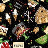 Picture of Baker's Dozen Bakery and Food Toss on Black Cotton Fabric