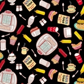 Picture of Barbara's Diner Condiments and Food on Black Cotton Fabric