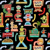 Picture of Barbara's Diner Retro Diner Signs on Black Cotton Fabric