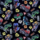 Picture of Speed Machine Motorcycles, Sport Bikes and Signs Cotton Fabric
