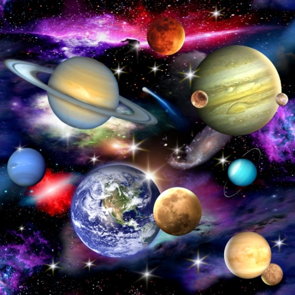 Cotton fabric nature fabric in space solar system for Solar system fabric