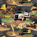 Picture of Caterpillar Construction Machines Earth Movers Cotton Fabric