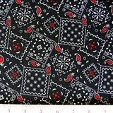 Picture of Blazin Bandanas Black with Red Paisley Pattern Cotton Fabric