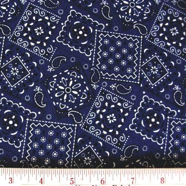 Picture of Blazin Bandanas Navy Blue Bandana Pattern Cotton Fabric