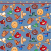 Picture of Tex Mex Cowboy Hats on Denim Cotton Fabric