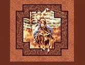 Picture of Rawhide Cowboy With Lasso Cotton Fabric Pillow Panel