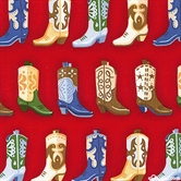 Picture of Round Up Cowboy Boots In Rows on Red Cotton Fabric