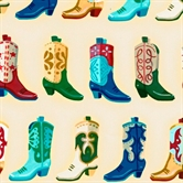 Picture of Round Up Cowboy Boots In Rows on Cream Cotton Fabric