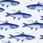 Picture of Caskata Collection Blue Fish on White Cotton Fabric