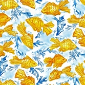 Picture of Impressions Goldfish on Blue Cotton Fabric