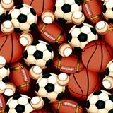 Picture of Flannel Basketballs, Footballs, Baseballs, Soccer Balls Cotton Fabric