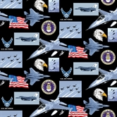 Picture of Military Air Force Scenes and Logos in Squares Cotton Fabric