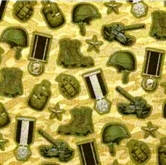 Picture of Modern Heroes Army Gear and Rank Badges Cotton Fabric