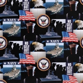 Picture of Military Navy Scenes and Logos in Squares Cotton Fabric