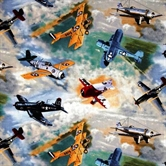 Picture of Vintage Military Fighter Planes in the Sky Cotton Fabric