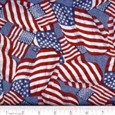 Picture of Old Glory Packed Flags on Denim Cotton Fabric