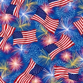Picture of Patriotic Flags and Fireworks on Blue Cotton Fabric