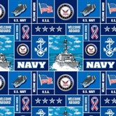 Picture of US Military Navy Scenes and Logos Squares Half Yard Fleece Fabric