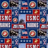 Picture of US Military Marines Scenes and Logos Squares Half Yard Fleece Fabric