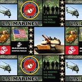 Picture of US Military Army Scenes and Logos Camouflage Half Yard Fleece Fabric