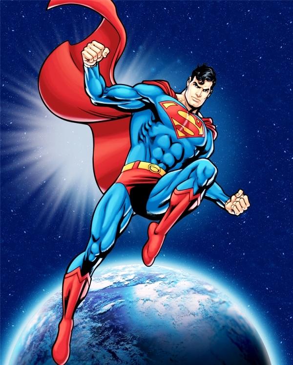 Fleece fabric dc comics superman in outer space 4my3boyz for Outer space fleece