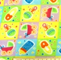 Picture of Baby Bottles Rattles Strollers Pastel Squares Half Yard Fleece Fabric