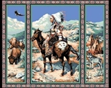 Picture of Native Spirit Indian, Buffalo, and Wolf Large Cotton Fabric Panel