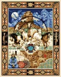 Picture of American Indians and Horses Blue Large Cotton Fabric Panel