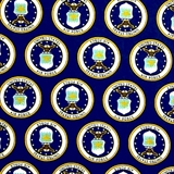 Picture of Military Air Force Seals on Blue Out of Print Cotton Fabric
