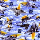 Picture of Military Salute Air Force Fighter Jets in the Sky Cotton Fabric